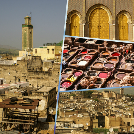 Collage of Fes traditional processing leather tannery in Morocco 스톡 콘텐츠
