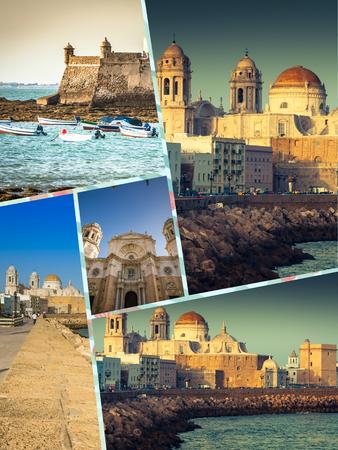 Collage of tourist photos of the Cadiz, Spain