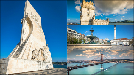 Collage of tourist photos of the Lisbon Portugal. Фото со стока