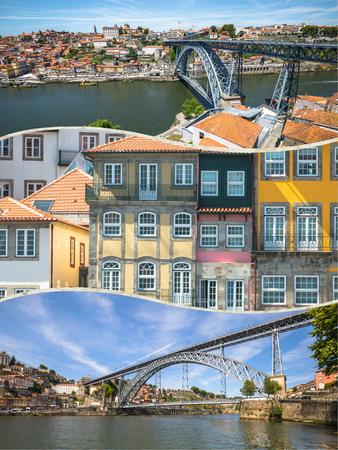 Collage of tourist photos of the Porto, Portugal