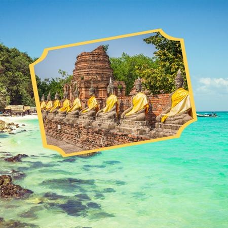 Collage of tourist photos of the Thailand. Stock fotó