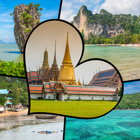 Collage of tourist photos of the Thailand.