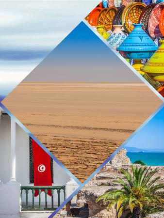 Collage of tourist photos of the Tunisia.