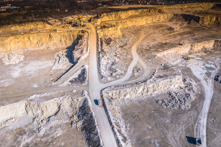 Aerial view of opencast mining quarry. Industrial place view from above Stockfoto