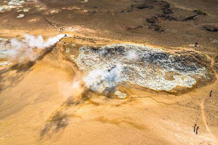 Surreal landscape of Hverir geothermal area near Lake Myvatn, Iceland