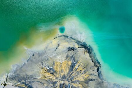 Degraded landscape. Destroyed land. View from above. Surrealistic lake.Human impact on the environment. View from above. Photo captured with drone