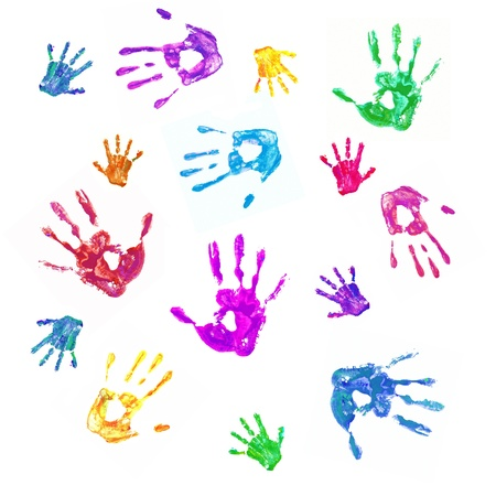 Colorful background from prints of painted hands of the family, mom, dad and baby. Family, fun and creative concept. Isolated on white background