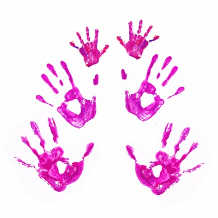Hand prints of father, mother and child. Together concept. Isolated on white background.  photo