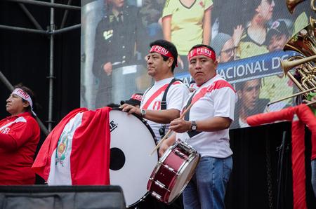 Lima, Peru - OCTOBER 10th 2017: Fanaticism in Peru (Peru vs. Colombia) Russia 2018. Two musicians