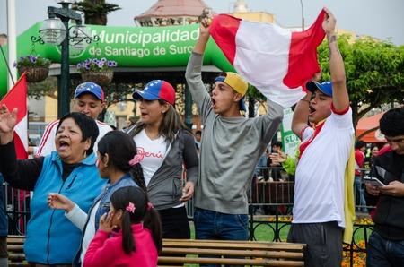 Lima, Peru - OCTOBER 10th 2017: Fanaticism in Peru (Peru vs. Colombia) Russia 2018. Venezuelan immigrants supporting the Peruvian national team Editorial