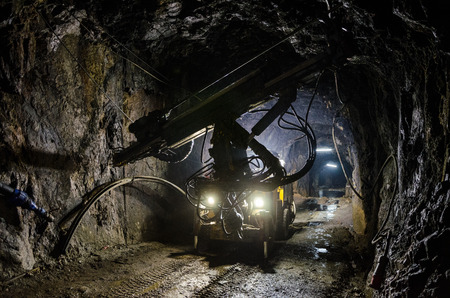 Large mine machine for the extraction of minerals Stock Photo