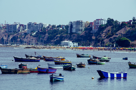View from the beach Pescadores in Chorrillos, Lima- Peru
