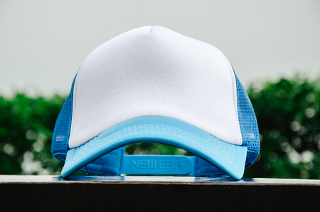 White trucker cap with light blue without logo Stock Photo