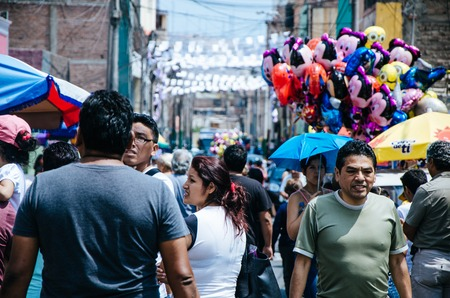 Lima, Peru - March 30, 2018: Outpatient trade for Holy Week is typical in some neighborhoods of Lima - Peru as in this Santiago de Surco