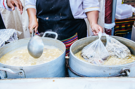 Peruvian food: Sopa criolla of caldo de mote