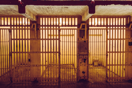 Cells of the Alcatraz Island, formerly a military prison and today a historic place that daily hosts tourists visits Standard-Bild - 115940985