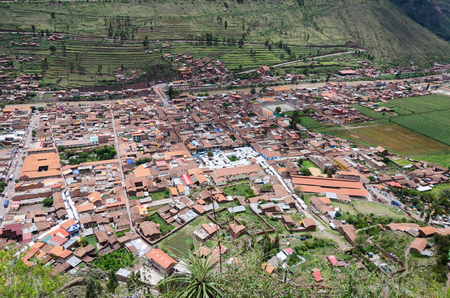 View from the Ruins of Pisac towards the city, Sacred Valley of the Incas Cusco PERU.