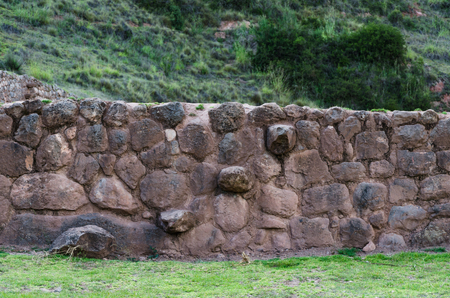 Agricultural terraces in the Sacred Valley. Inca stone stairs, Moray in Cusco, Sacred Valley, Peru.