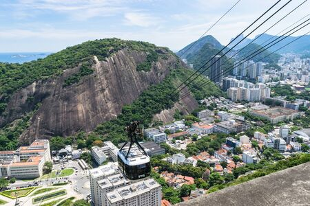 View of the funicular cableway in the viewpoint of Sugar Loaf