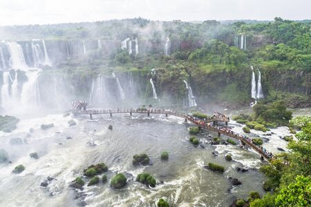 The majestic Iguazu Falls, one of the wonders of the world located in Brazil.