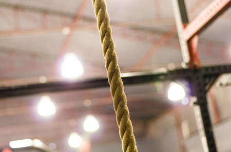 Closeup rope for climbing in the gym.