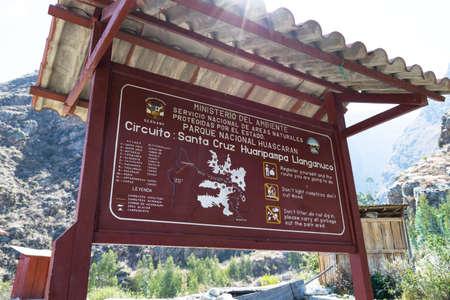 Board with some rules in Santa Cruz Trek, Huascaran National Park in the Andes of Peru.