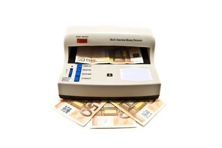 detect: machine to detect forged banknotes Stock Photo
