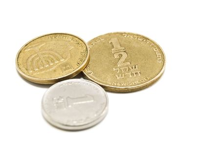 israeli coins on white background