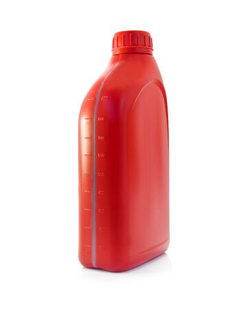 lubricating oil bottle on white background Stock Photo