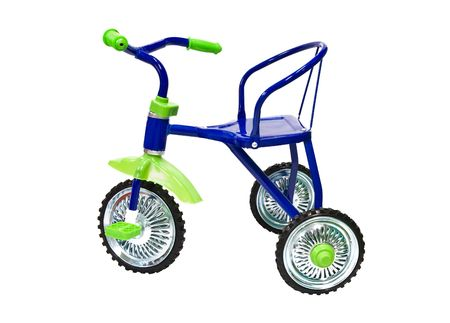 blue tricycle on a white background photo