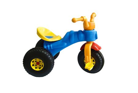 blue tricycle on a white background