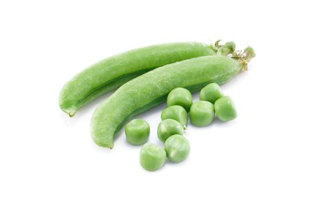 fresh green pea in the pod isolated on white background photo