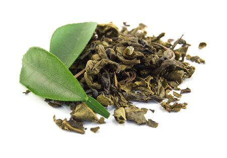 green tea and leaves is isolated on a white background