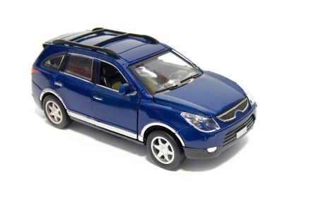 model of blue car is isolated on a white background