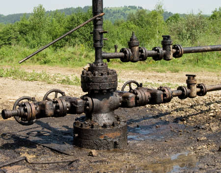 newly installed wellhead in the oil and gas industry photo