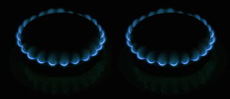 two gas-rings. night light. gassing, blue photo