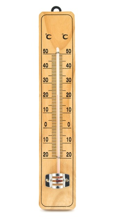 wooden thermometer isolated on a white background
