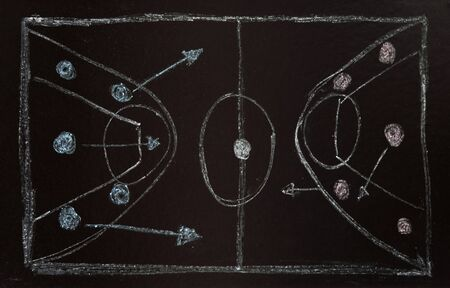tactic: command tactic is on the basketball field Stock Photo