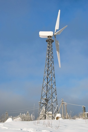 wind turbine is on a background sky Stock Photo - 10038535