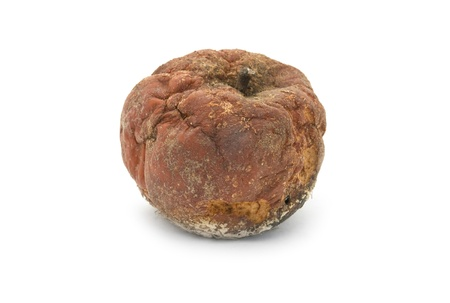 rotten apple is isolated on a white background