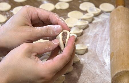 preparation of meat dumplings womanish hand photo