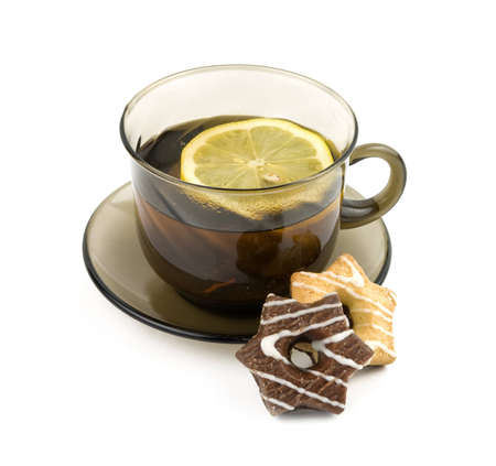 english breakfast: cup of Traditional English tea with biscuit on white background