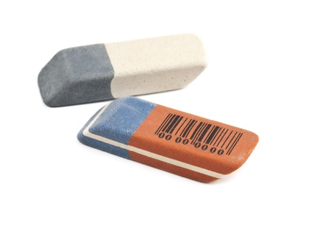 blunder: erasers is isolated on a white background Stock Photo