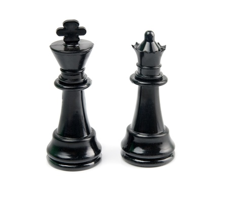 black king and queen is isolated on white