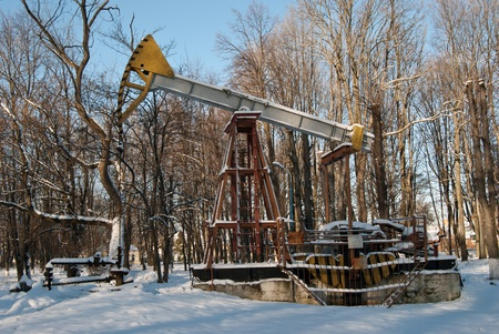Oil wells are drilling oil at winter  photo