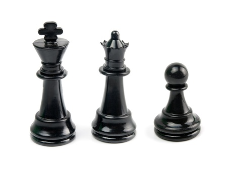 black king, queen and pawn is isolated on white