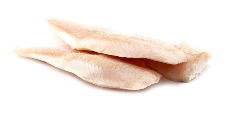 three cod filets isolated on a white background  Stock Photo