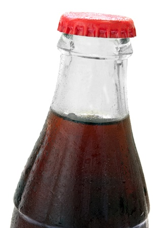 glass bottle with cola on a white background, with no labels. Isolated on white background