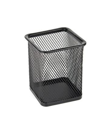 wastebasket: a wastebasket on white background  Stock Photo
