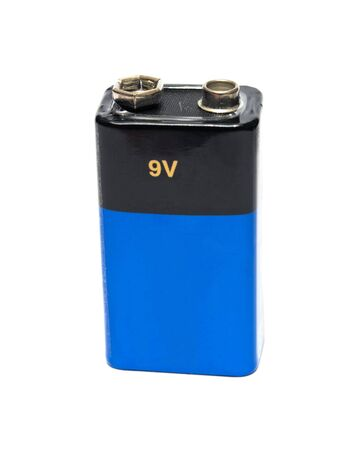 blue 9v battery is isolated on white